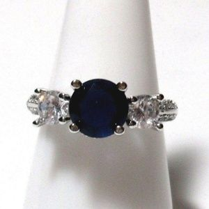 Ring Size 7 Simulated Sapphire Diamond 415